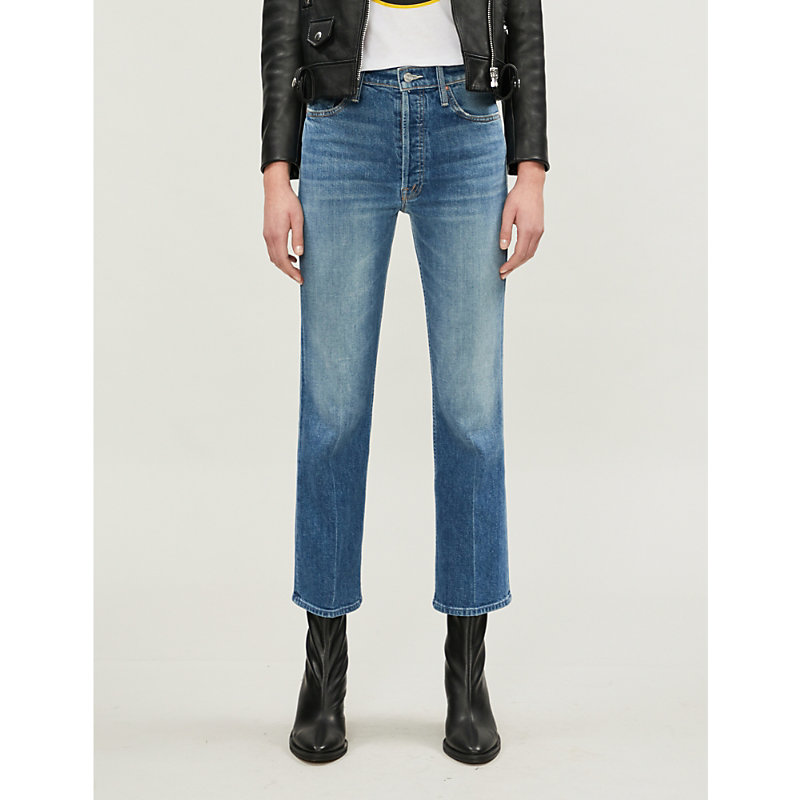 MOTHER | The Tripper Ankle Slim-Fit Flared High-Rise Jeans | Goxip