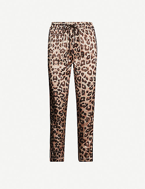 MOTHER The Lounger leopard-print high-rise tapered satin-crepe trousers