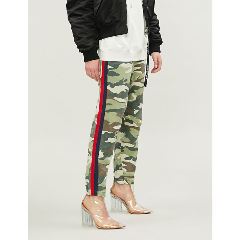 MOTHER | The No Zip Misfit Tapered Mid-Rise Cotton-Blend Trousers | Goxip