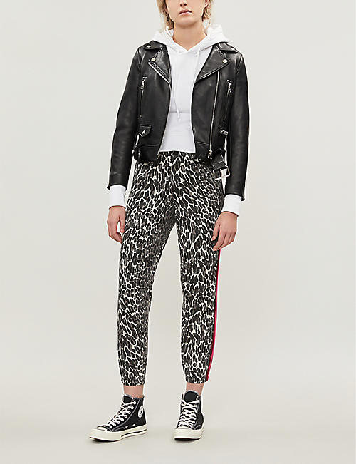 MOTHER The No Zip Misfit leopard-print straight high-rise jeans
