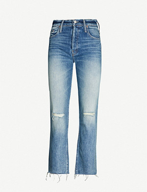 MOTHER The Tomcat distressed cropped high-rise straight-leg stretch-denim jeans