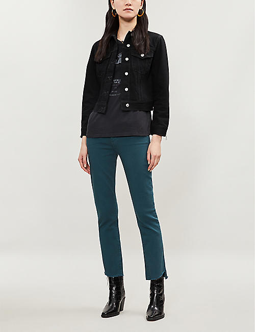 MOTHER The Rascal frayed-hem mid-rise skinny jeans