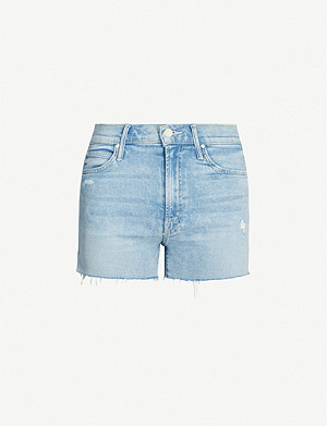 MOTHER Rascal distressed denim shorts