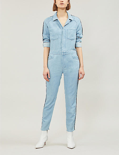 MOTHER The Zip Riveter striped-panel stretch-denim jumpsuit