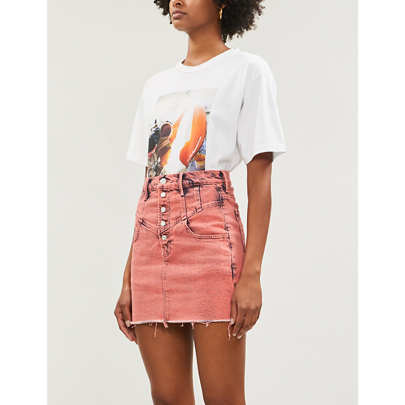MOTHER | The Swooner High-Waist Denim Mini Skirt | Goxip