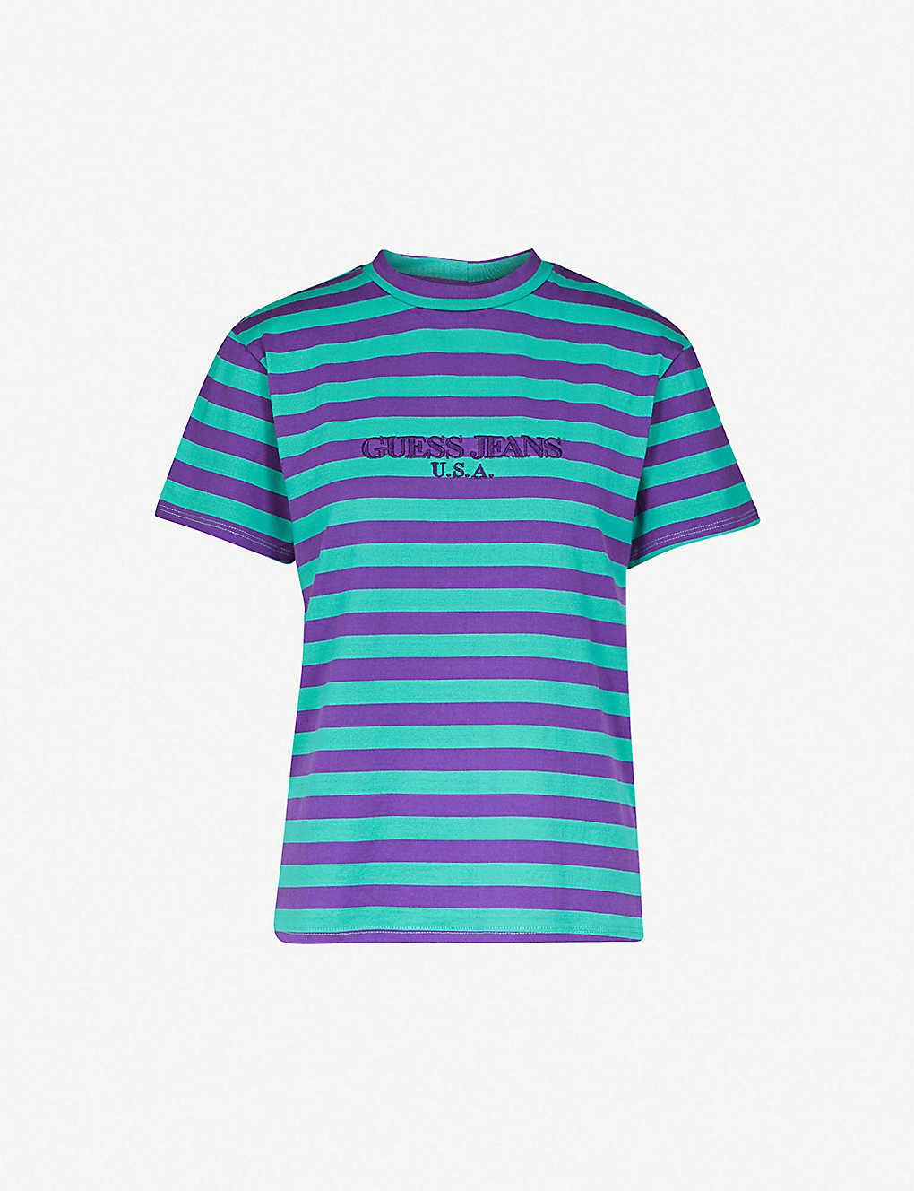 aa017035 GUESS JEANS USA - Farmers Market logo-print striped cotton-jersey T ...