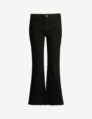 MIH JEANS Lou flared cropped high-rise jeans