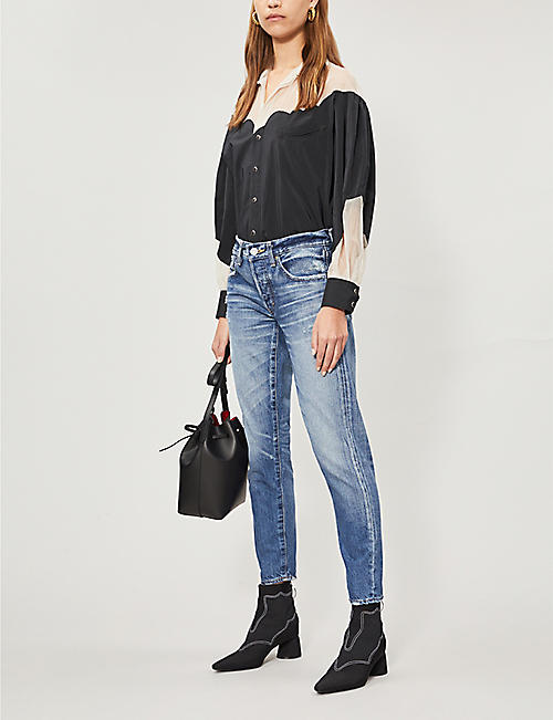 MOUSSY Vienna ripped tapered mid-rise jeans