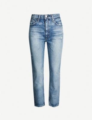 MOUSSY Everett cropped high-rise faded boyfriend jeans