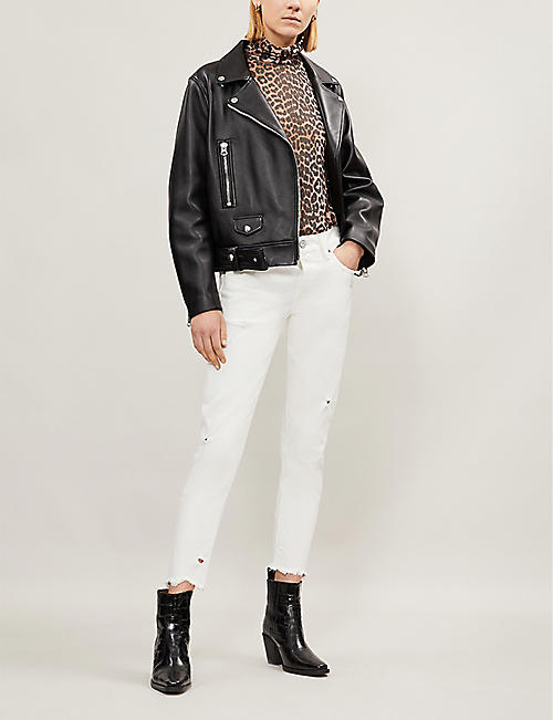 MOUSSY Kelley cropped raw-hem high-rise skinny jeans