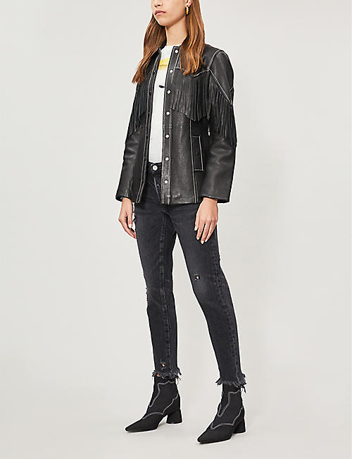 MOUSSY Kelley ripped tapered mid-rise jeans