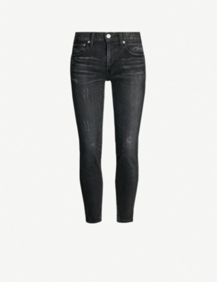 MOUSSY Velma cropped mid-rise faded skinny jeans