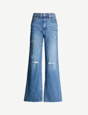 SLVRLAKE Distressed high-rise straight leg jeans