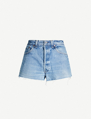 RE/DONE Ripped high-rise denim shorts