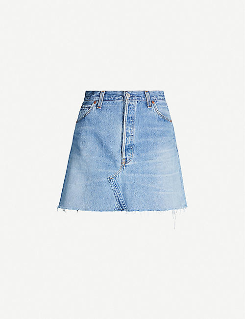 RE/DONE High-rise denim mini skirt