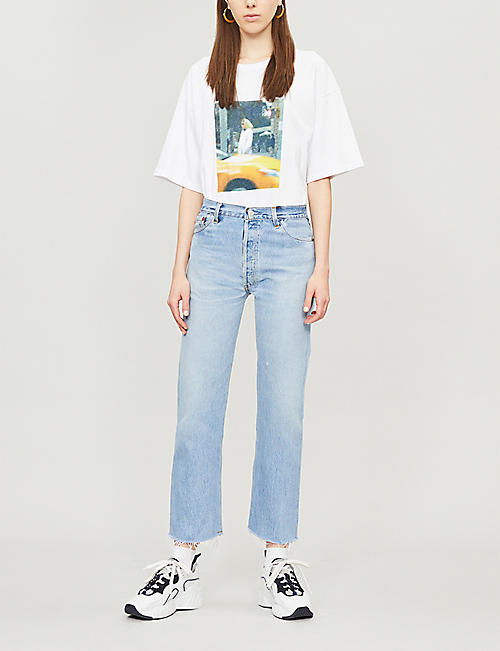 RE/DONE Stove Pipe cropped straight high-rise jeans