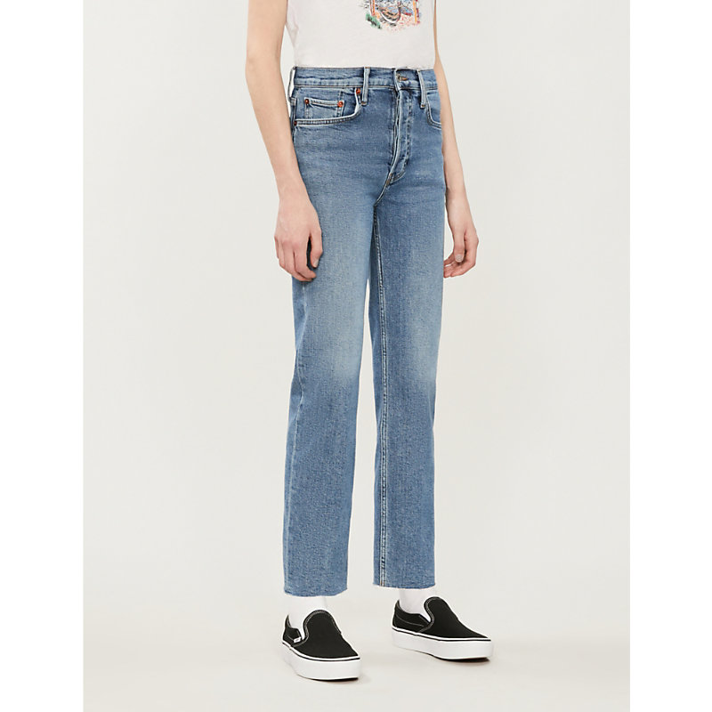 Re/Done Stove Pipe Cropped Straight High-Rise Jeans In Medium Stone