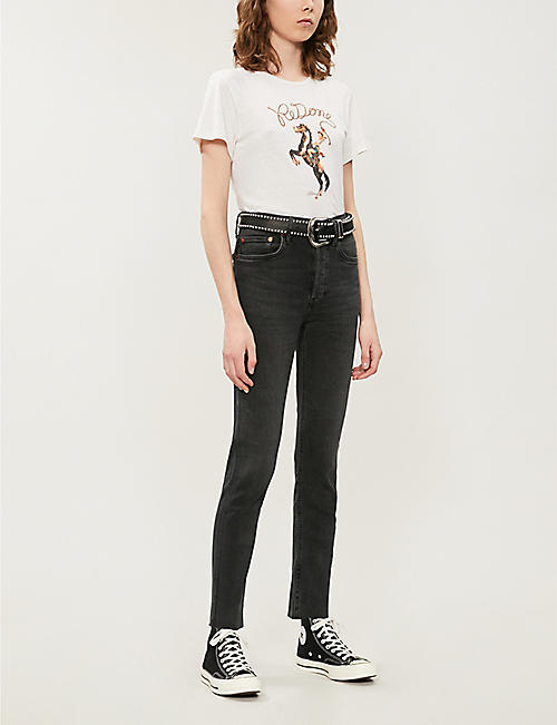 RE/DONE Faded skinny cropped high-rise jeans