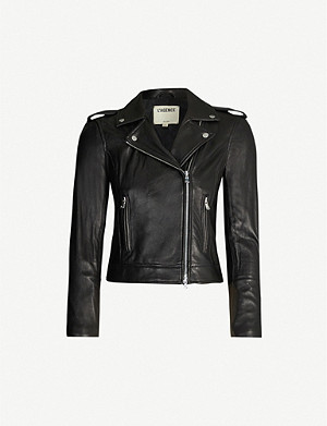 L'AGENCE Perfecto cropped leather jacket
