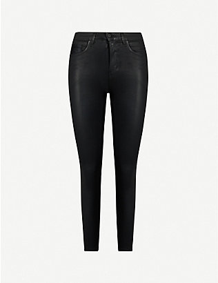 L'AGENCE: Margot coated high-rise tapered stretch-denim jeans