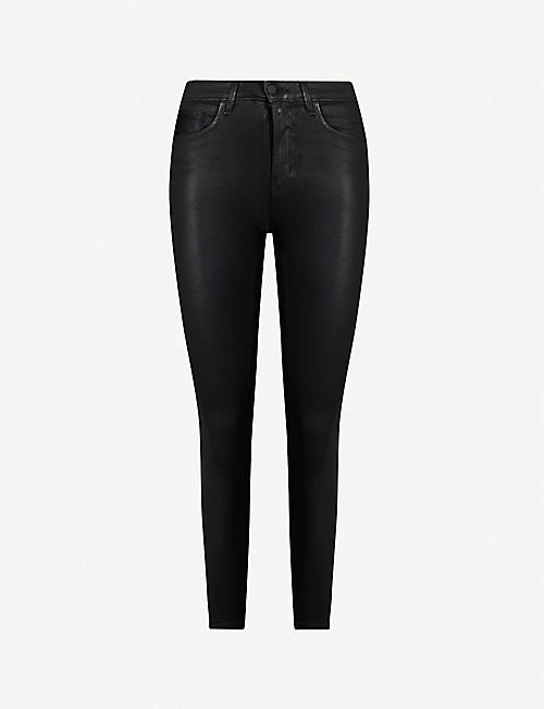 L'AGENCE Margot coated high-rise tapered stretch-denim jeans