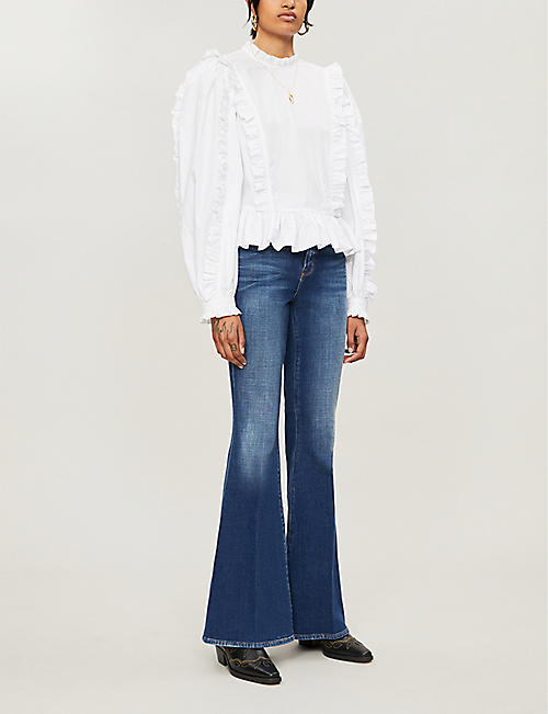 L'AGENCE Solana mid-rise flared stretch-denim jeans