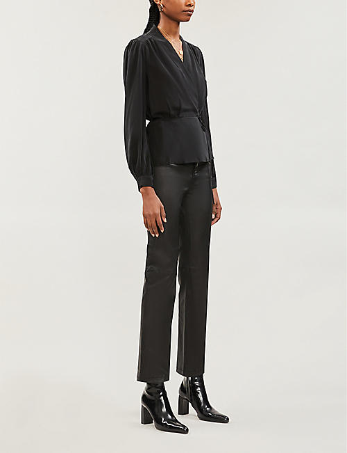 L'AGENCE Cara wrap-over silk-crepe blouse