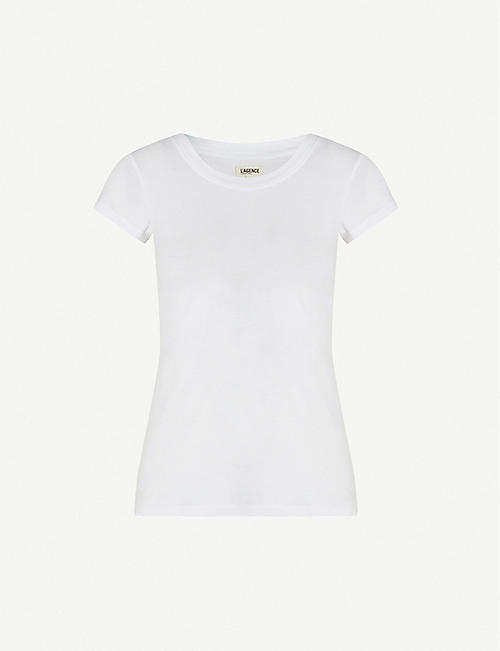 L'AGENCE Cory scoop-neck cotton-jersey T-shirt