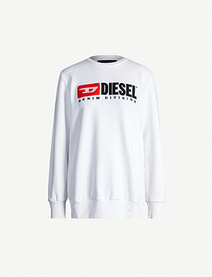 DIESEL Division-embroidered cotton-jersey sweatshirt