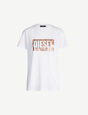 DIESEL Foiled-logo cotton T-shirt