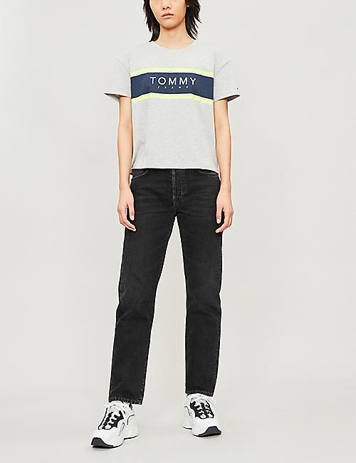 TOMMY JEANS Colour-block logo-print cotton-jersey T-shirt