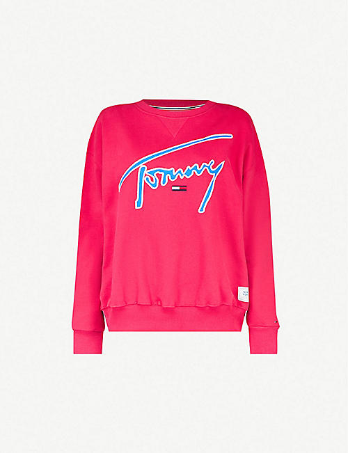 b7318cd1dc0b TOMMY JEANS Signature-embroidery cotton-jersey sweatshirt