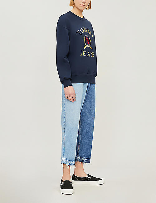 TOMMY JEANS Crest flag cotton-jersey sweatshirt