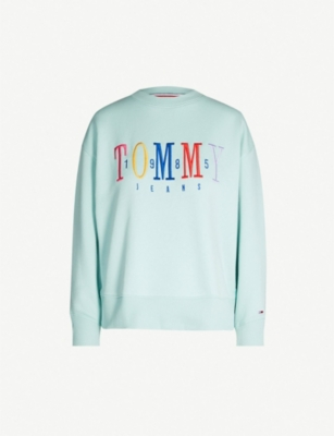 TOMMY JEANS Logo-embroidered cotton-blend sweatshirt