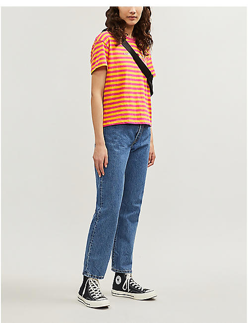 c0bd8858 TOMMY JEANS Logo-print striped cotton-jersey T-shirt