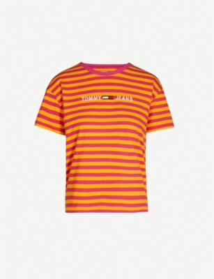 TOMMY JEANS Logo-print striped cotton-jersey T-shirt