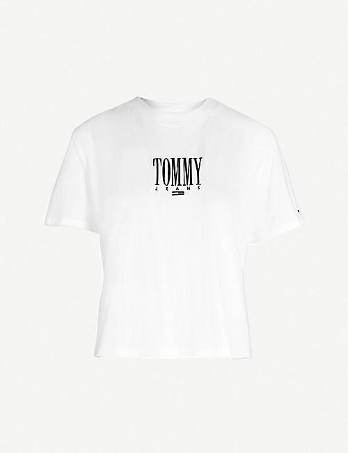 3832875b TOMMY JEANS Logo-embroidered cotton-jersey T-shirt