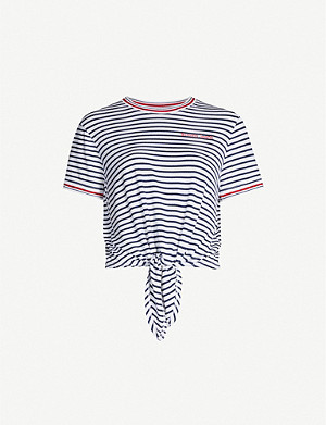 TOMMY JEANS Striped contrasting-trim jersey T-shirt