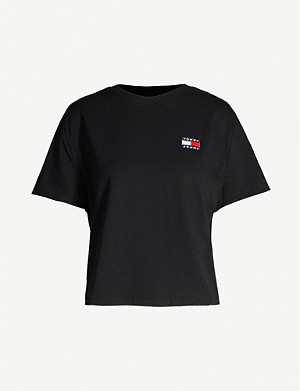TOMMY JEANS Logo-embroidered cotton-blend T-shirt