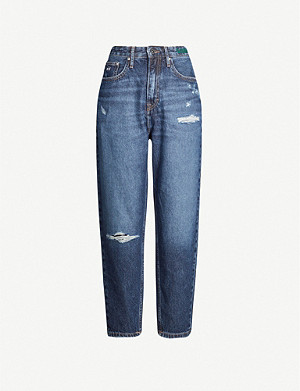 TOMMY JEANS Distressed cropped high-rise jeans