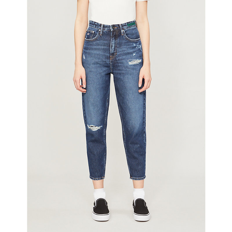 e5b6e0e1 TOMMY JEANS | Distressed Cropped High-Rise Jeans | Goxip