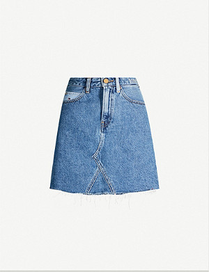TOMMY JEANS Frayed-hem fitted high-waist mini skirt