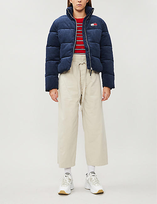 TOMMY JEANS Logo-embroidered corduroy puffer coat