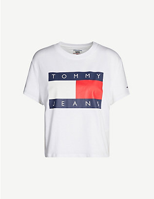 TOMMY JEANS: Logo-print cotton-jersey T-shirt
