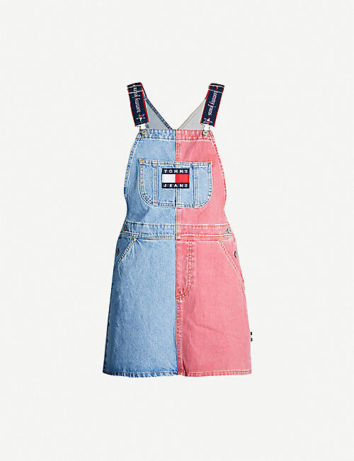 TOMMY JEANS Logo-embroidered denim dungaree dress