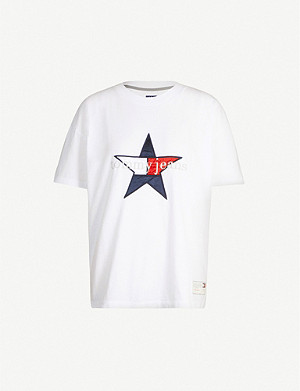 TOMMY JEANS Logo-embroidered round-neck cotton-jersey T-shirt
