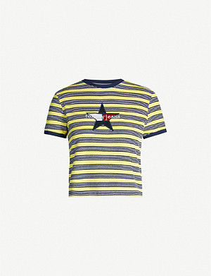 TOMMY JEANS Logo-appliqué striped towelling T-shirt