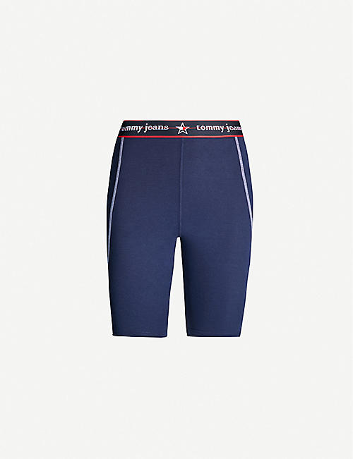 TOMMY JEANS Logo-print high-rise stretch-jersey cycling shorts