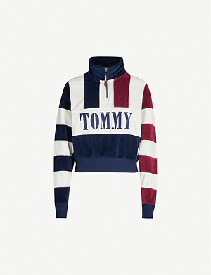 TOMMY JEANS Branded striped fleece sweatshirt