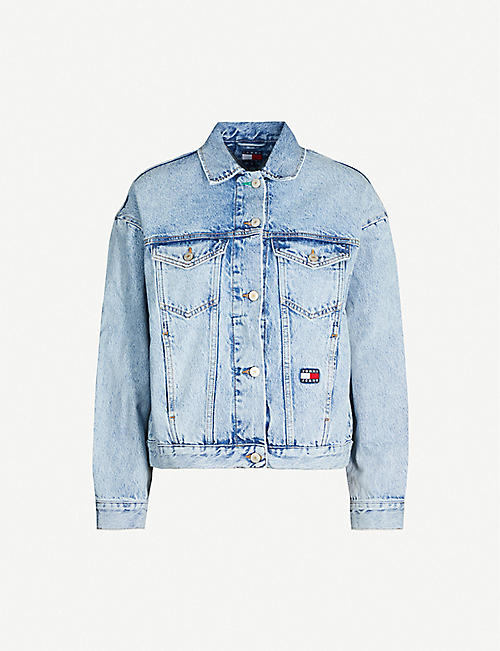 TOMMY JEANS Flag-embroidered denim jacket